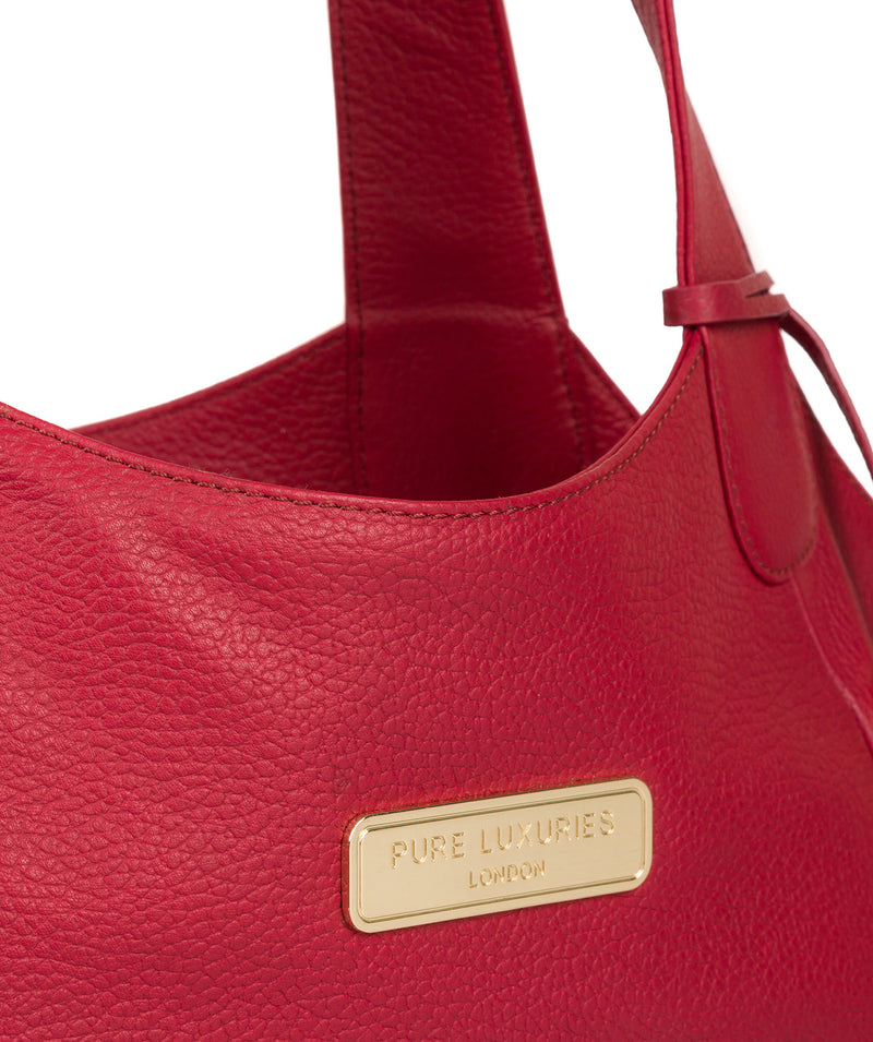 'Roxanne' Berry Red Leather Tote Bag image 6