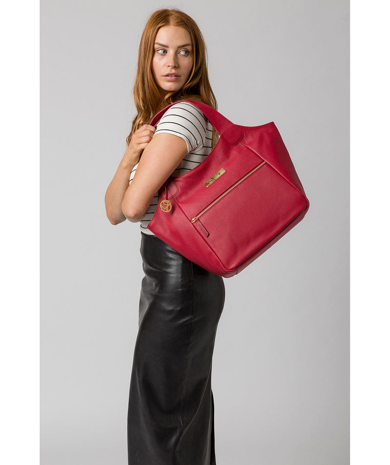 'Roxanne' Berry Red Leather Tote Bag image 2
