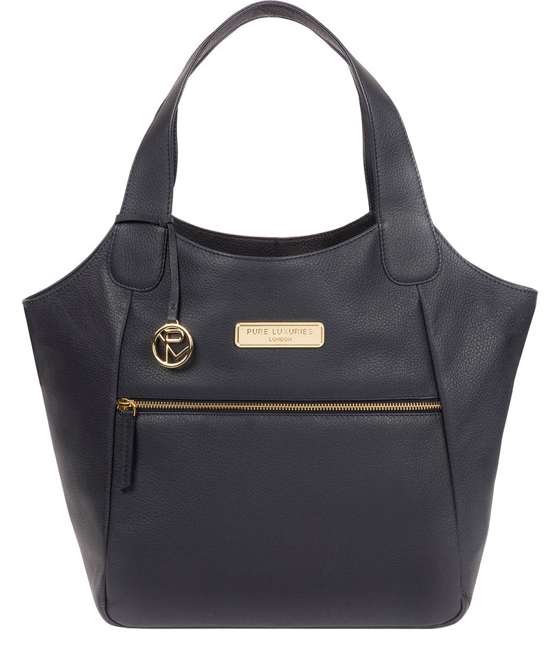 'Roxanne' Navy Leather Tote Bag image 1