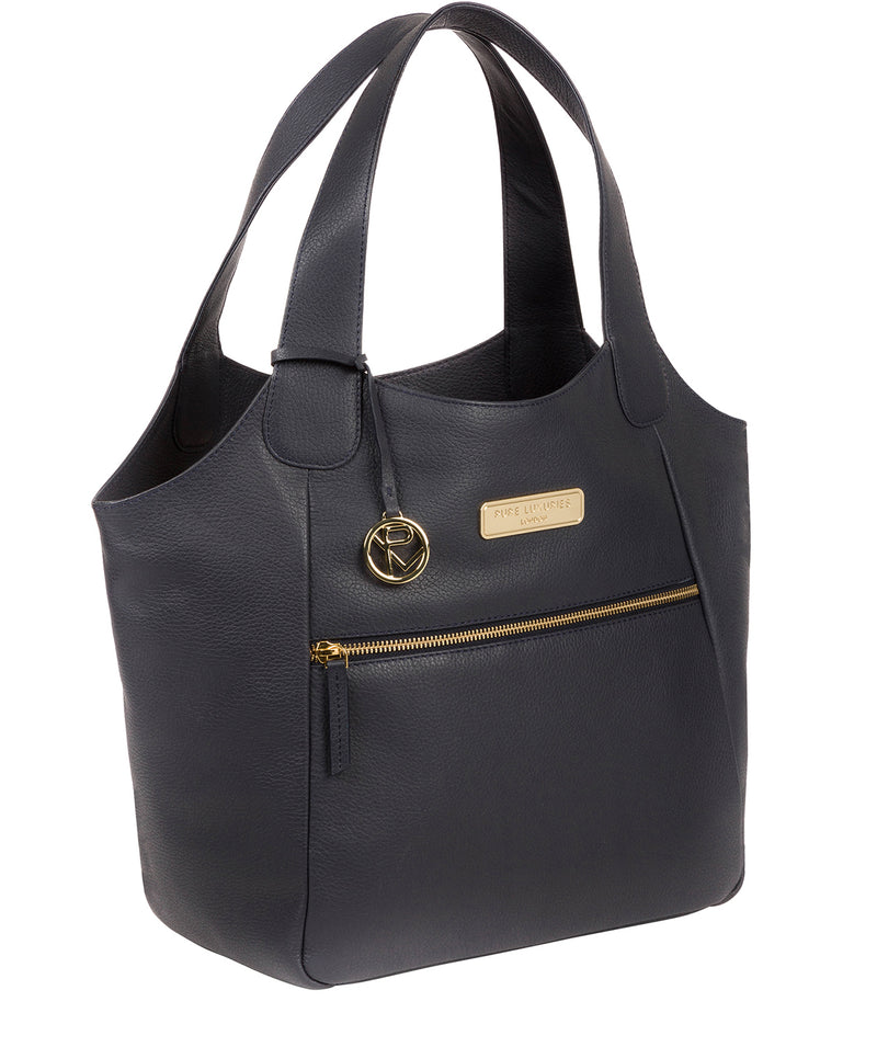 'Roxanne' Navy Leather Tote Bag image 5