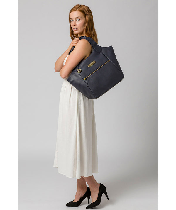 'Roxanne' Navy Leather Tote Bag image 2