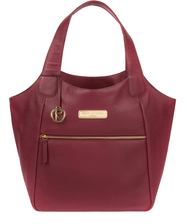 'Roxanne' Pomegranate Leather Tote Bag image 1