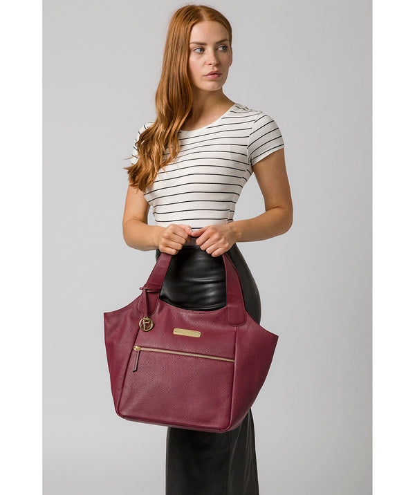 'Roxanne' Pomegranate Leather Tote Bag image 2