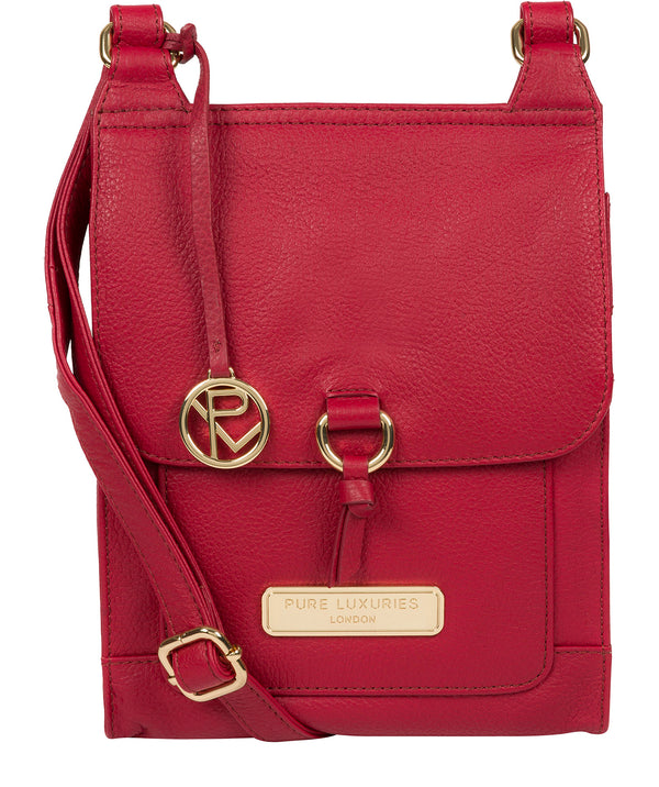 'Naomi' Berry Red Leather Cross Body Bag image 1