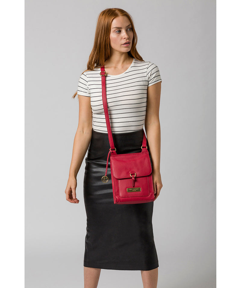 'Naomi' Berry Red Leather Cross Body Bag image 2