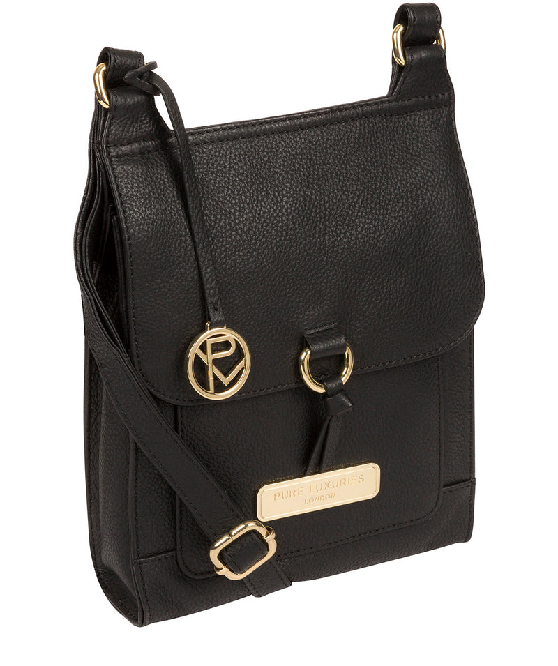 'Naomi' Black Leather Cross Body Bag Pure Luxuries London