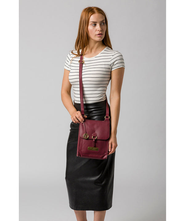'Naomi' Pomegranate Leather Cross Body Bag image 2