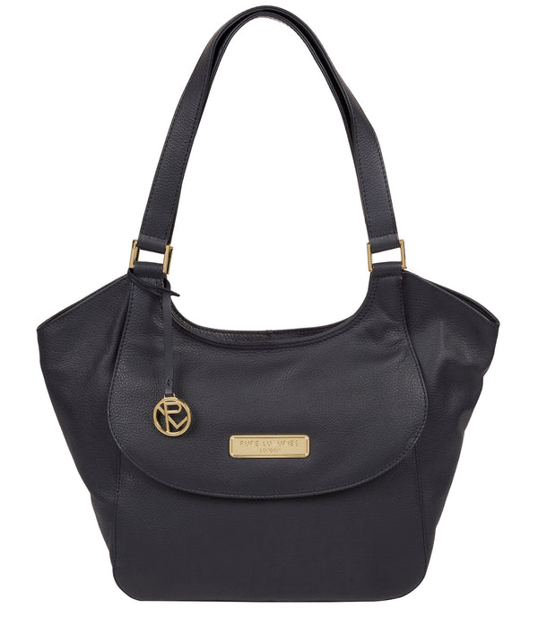 'Grace' Navy Leather Tote Bag image 1