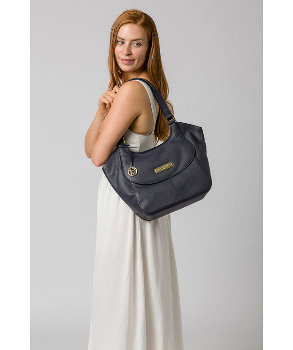 'Grace' Navy Leather Tote Bag image 2