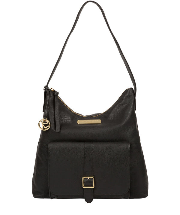'Imogen' Black Leather Shoulder Bag image 1