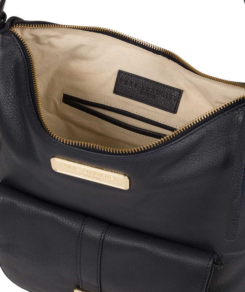'Imogen' Navy Leather Shoulder Bag image 4