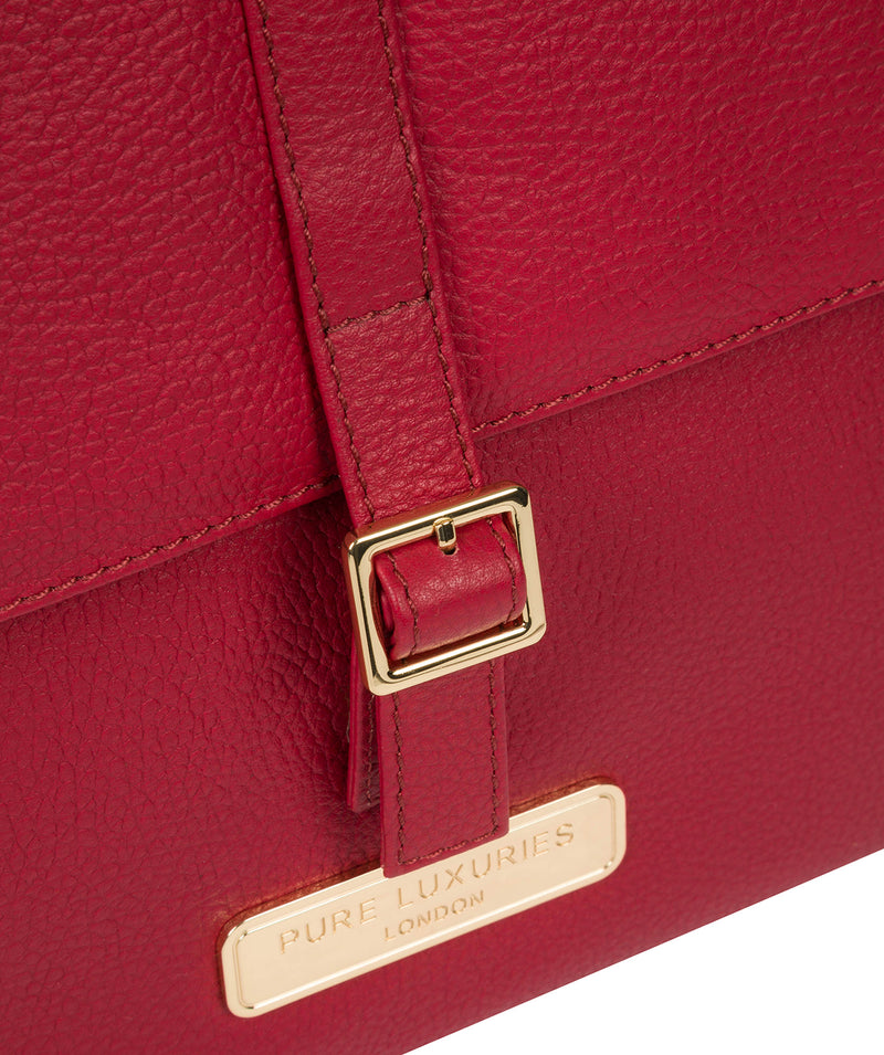 'Daisy' Berry Red Leather Backpack image 6