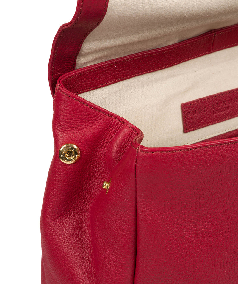 'Daisy' Berry Red Leather Backpack image 7