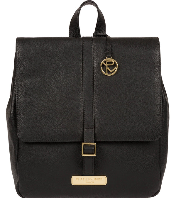 'Daisy' Black Leather Backpack Pure Luxuries London