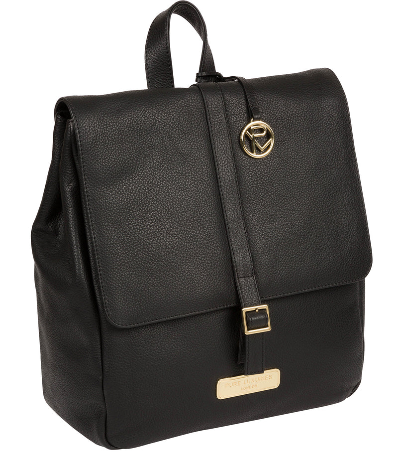 'Daisy' Black Leather Backpack image 5