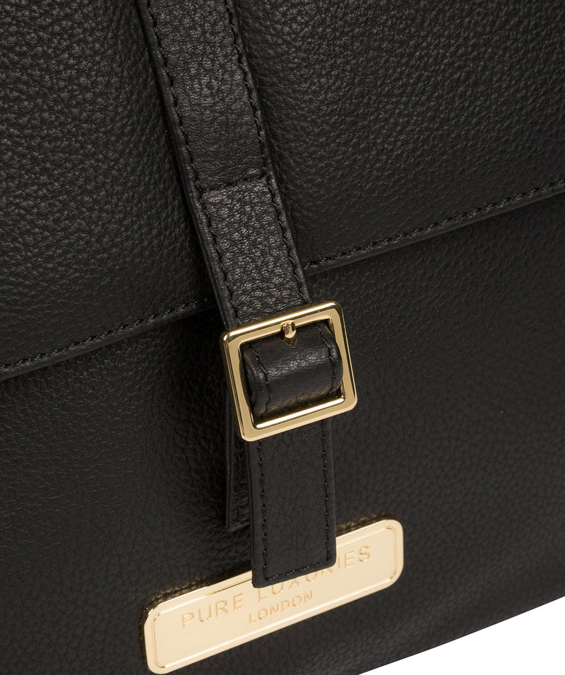 'Daisy' Black Leather Backpack image 6