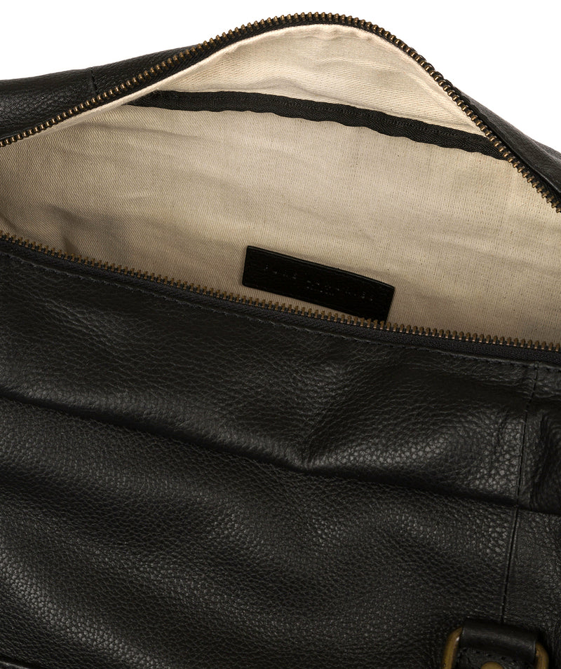 'Global' Black Leather Holdall Pure Luxuries London