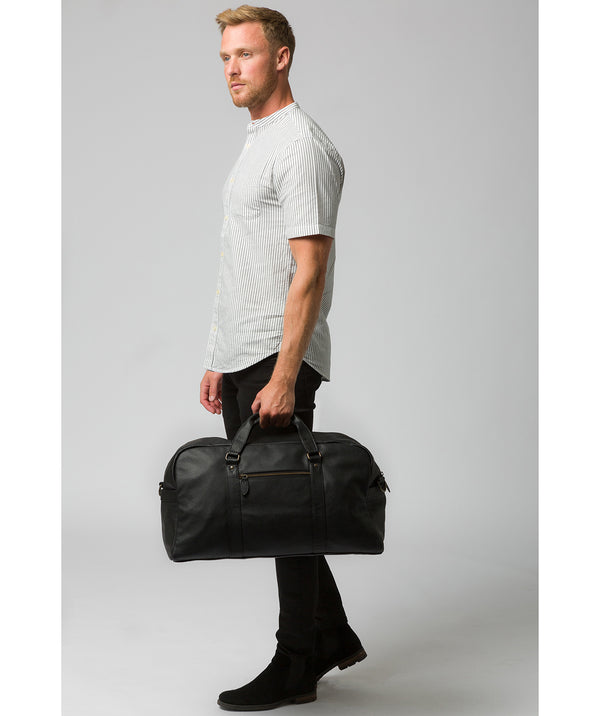 'Global' Black Leather Holdall