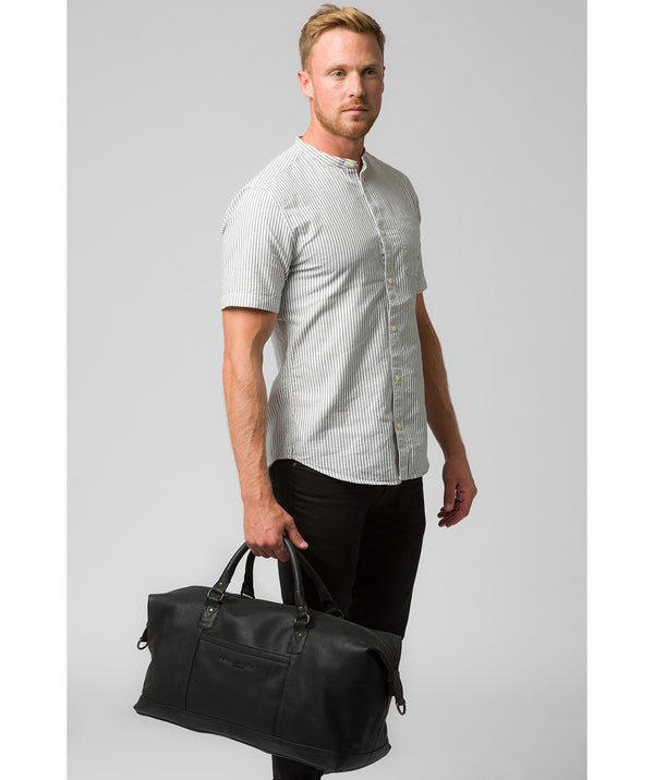 'Cargo' Black Leather Holdall