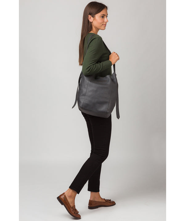'Hoxton' Slate Leather Shoulder Bag
