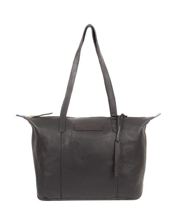 'Oval' Slate Leather Tote Bag