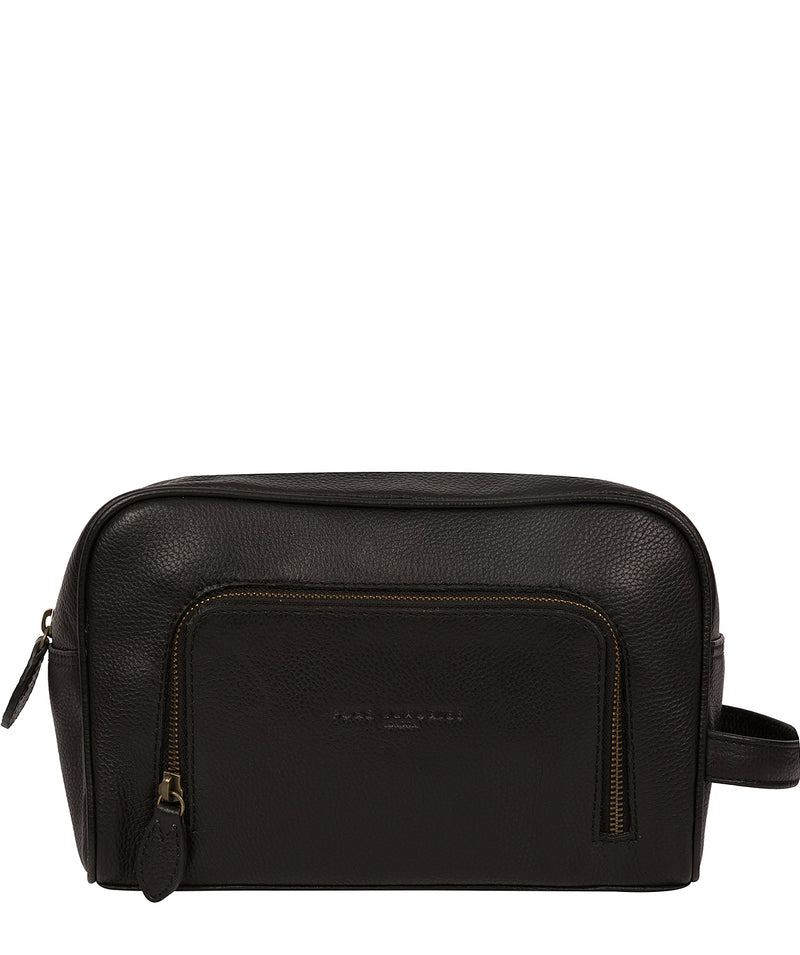 'Stream' Black Leather Washbag