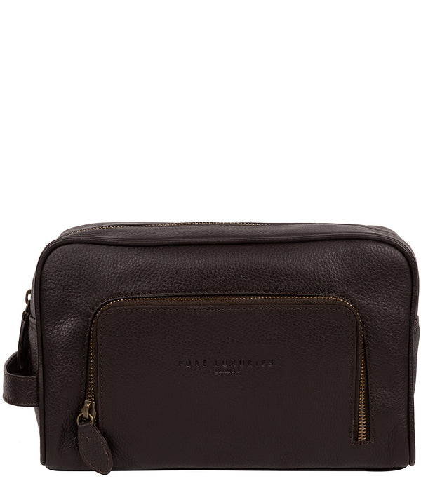 'Stream' Brown Leather Washbag