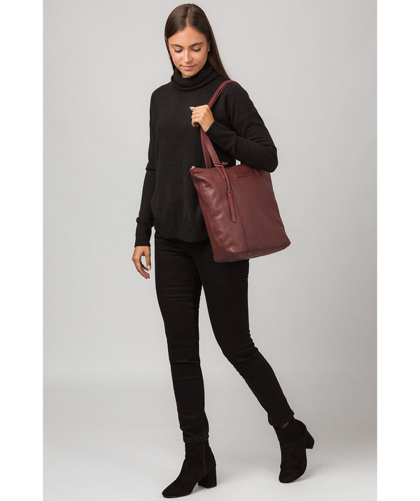 'Blendon' Burgundy Leather Tote Bag