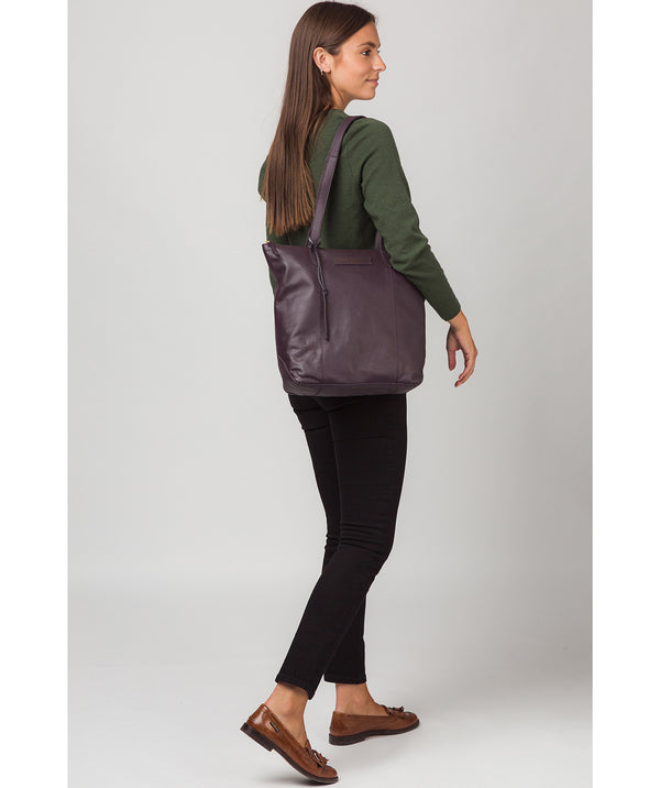 'Blendon' Plum Leather Tote Bag