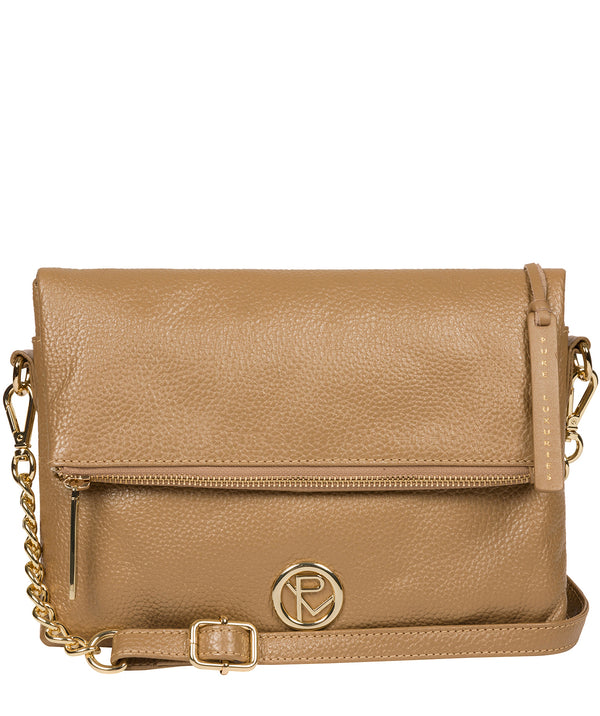 'Floria' Metallic Champagne Leather Cross Body Bag image 1
