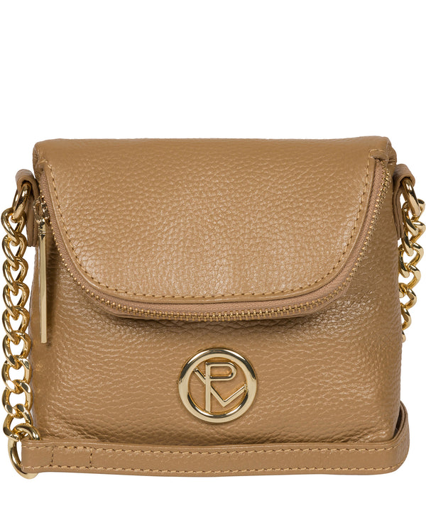 'Giselle' Metallic Champagne Leather Cross Body Bag image 1