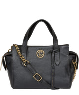 'Lisette' Metallic Blue Steel Leather Handbag image 1