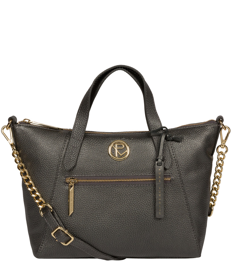 'Claudette' Metallic Dark Silver Leather Handbag image 1