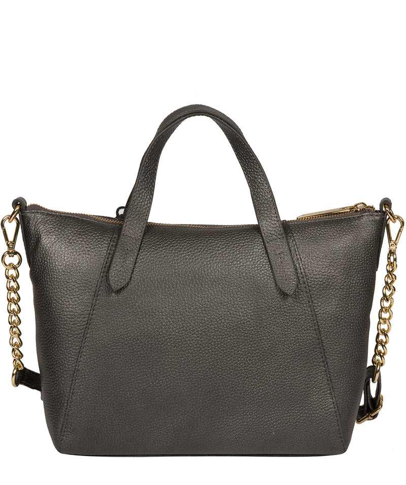 'Claudette' Metallic Dark Silver Leather Handbag image 3