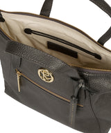 'Claudette' Metallic Dark Silver Leather Handbag image 4