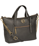 'Claudette' Metallic Dark Silver Leather Handbag image 5