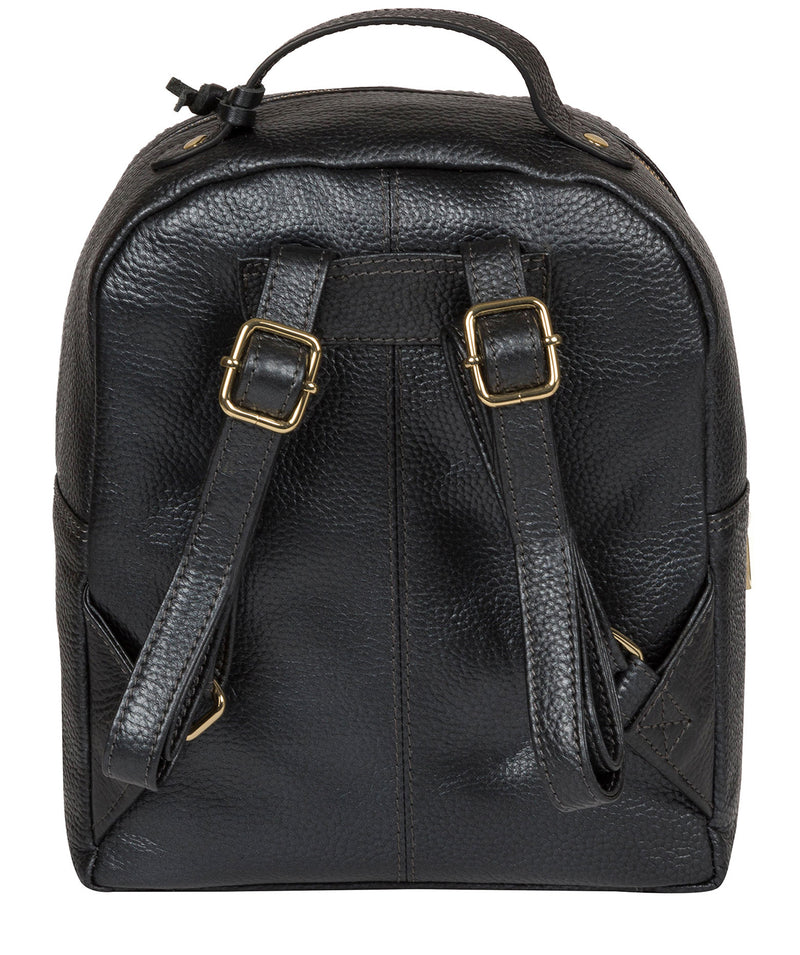 'Zuria' Metallic Blue Steel Leather Backpack image 3
