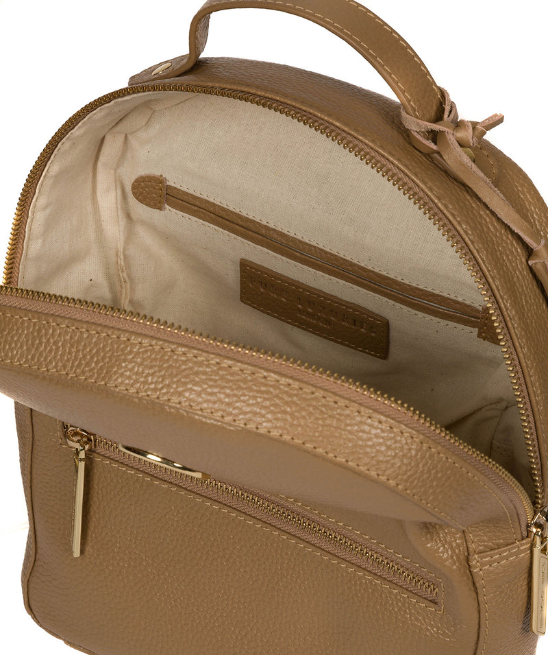 'Zuria' Metallic Champagne Leather Backpack image 4