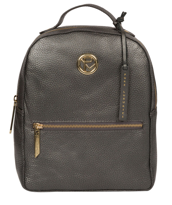 'Zuria' Metallic Dark Silver Leather Backpack image 1