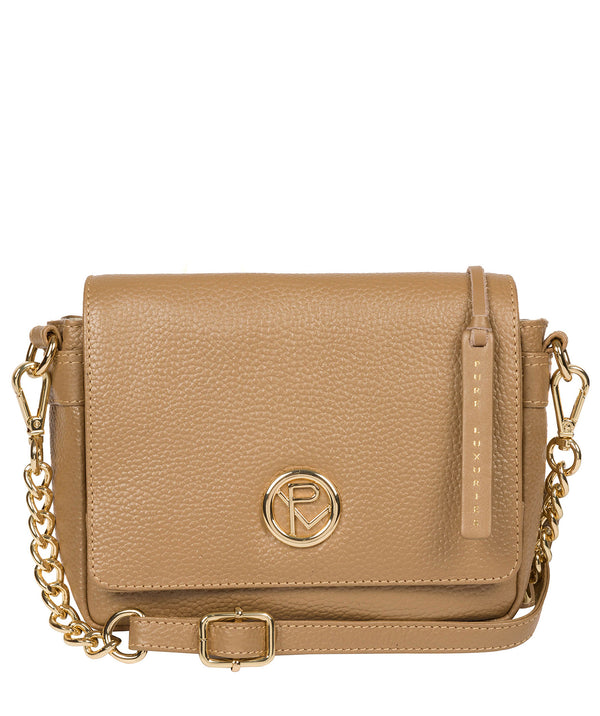 'Paulette' Metallic Champagne Leather Cross Body Bag image 1