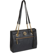 'Nannette' Metallic Blue Steel Leather Shoulder Bag Pure Luxuries London