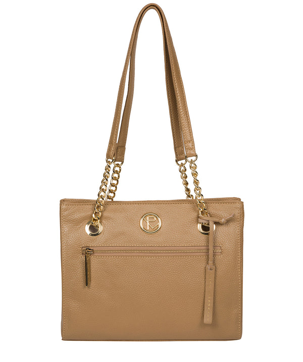 'Nannette' Metallic Champagne Leather Shoulder Bag Pure Luxuries London
