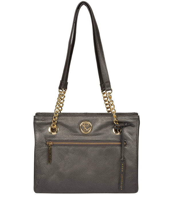 'Nannette' Metallic Dark Silver Leather Shoulder Bag Pure Luxuries London