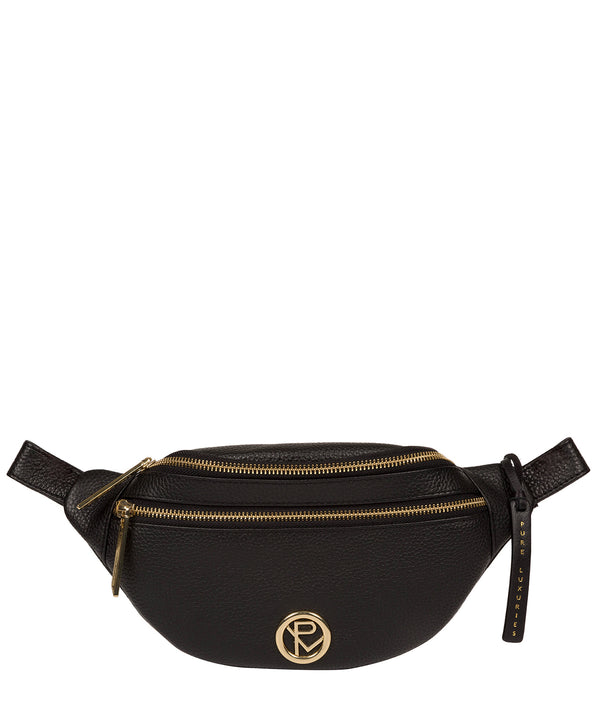 'Noelle' Black Leather Bum Bag image 1