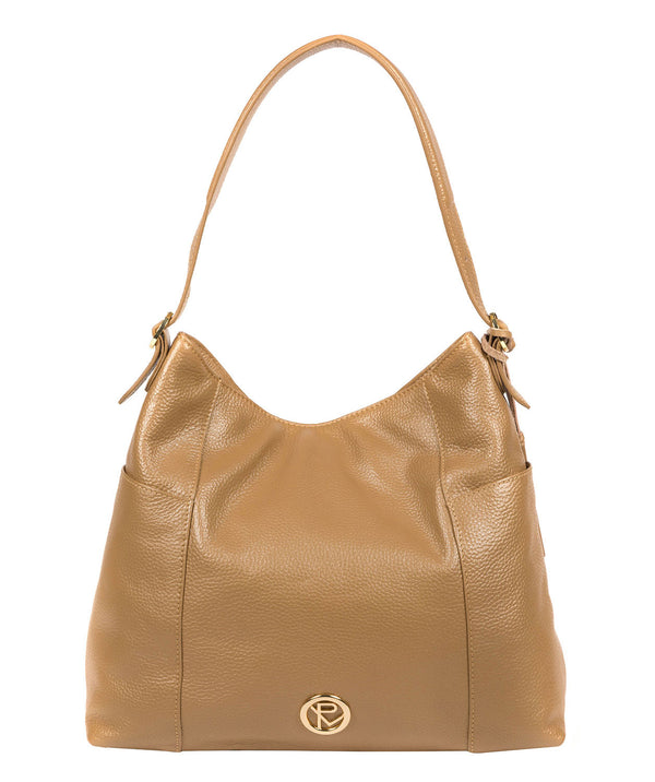 'Trinette' Metallic Champagne Leather Tote Bag image 1