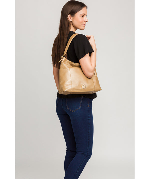 'Trinette' Metallic Champagne Leather Tote Bag image 2