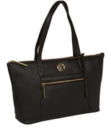 'Rosamonde' Black Leather Tote Bag image 5