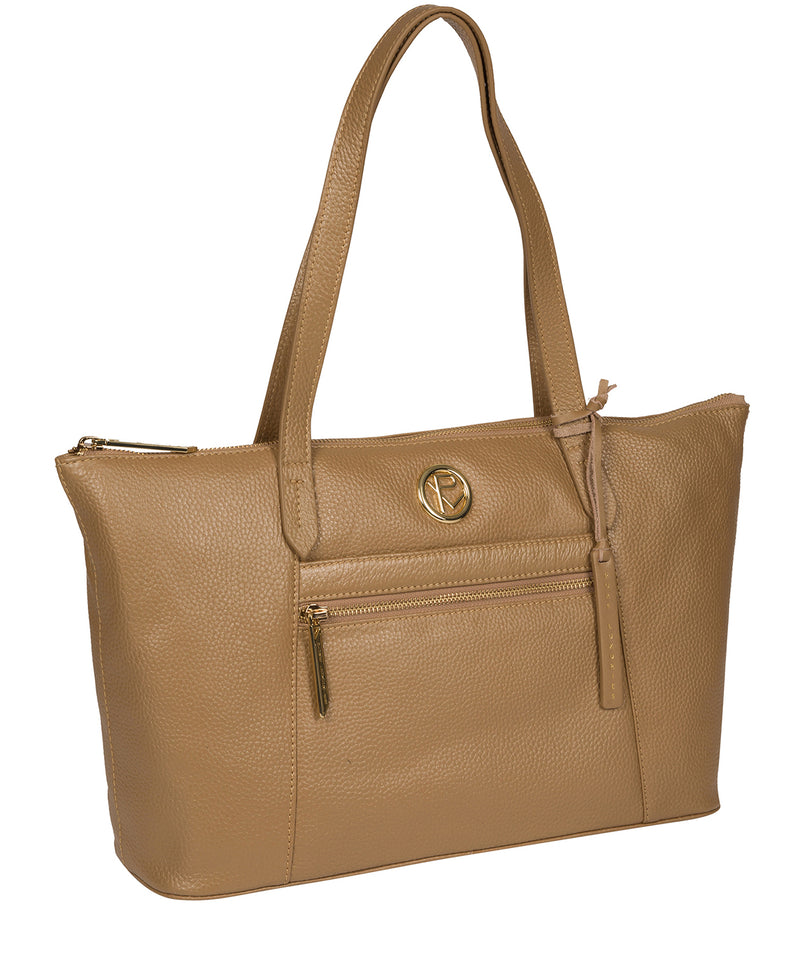 'Rosamonde' Metallic Champagne Leather Tote Bag image 5
