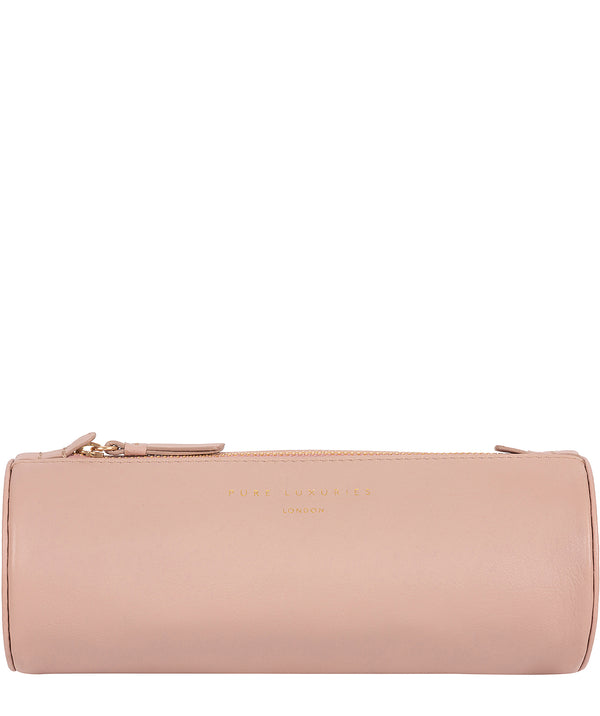 'Stockwell' Blush Pink Leather Make-Up Brush Pouch