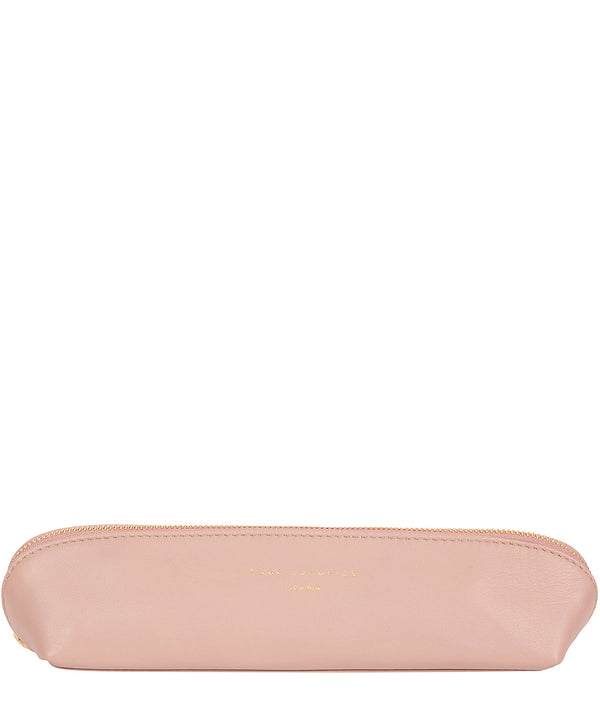 'Reeves' Blush Pink Leather Make-Up Brushes Bag